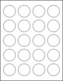 "Sheet of 1.75"" Starburst Aggressive White Matte labels"