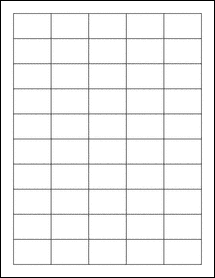 "Sheet of 1.5"" x 1"" Standard White Matte labels"