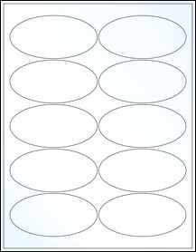 "Sheet of 3.9375"" x 1.9375"" Oval Clear Gloss Inkjet labels"