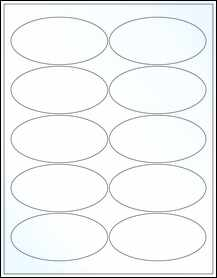 """Sheet of 3.9375"""" x 1.9375"""" Oval Clear Gloss Laser labels"""