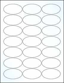 "Sheet of 2.5"" x 1.38"" Oval Clear Gloss Inkjet labels"