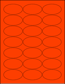"""Sheet of 2.5"""" x 1.38"""" Oval Fluorescent Red labels"""