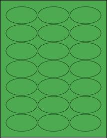 "Sheet of 2.5"" x 1.38"" Oval True Green labels"