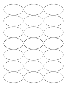 """Sheet of 2.5"""" x 1.38"""" Oval Removable White Matte labels"""