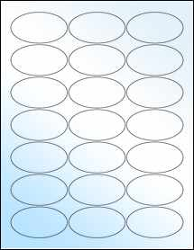 """Sheet of 2.5"""" x 1.38"""" Oval White Gloss Laser labels"""