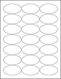 "Sheet of 2.5"" x 1.38"" Oval Standard White Matte labels"