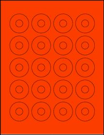 "Sheet of 1.57"" Center Hub Fluorescent Red labels"
