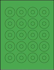 "Sheet of 1.57"" Center Hub True Green labels"
