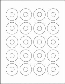 "Sheet of 1.57"" Center Hub Weatherproof Gloss Inkjet labels"