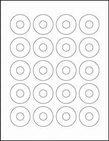 "Sheet of 1.57"" Center Hub Standard White Matte labels"