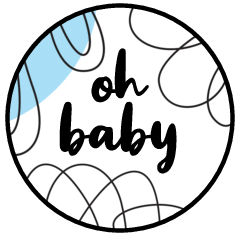 """0.75"""" Oh Baby Kiss Candy Labels (Blue) - Pre-Printed Baby Shower Candy Labels - Circle - 108 Labels/Sheet"""