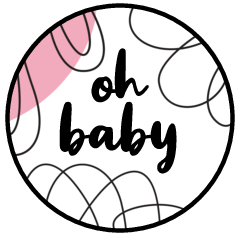 """0.75"""" Oh Baby Kiss Candy Labels (Pink) - Pre-Printed Baby Shower Candy Labels - Circle - 108 Labels/Sheet"""