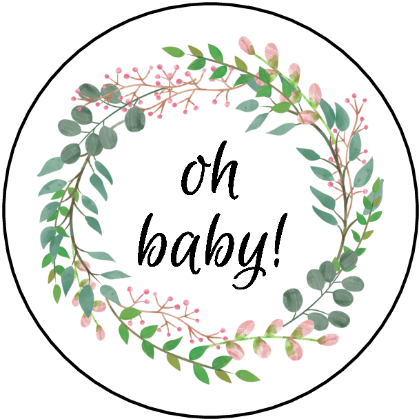 """2"""" Oh Baby Baby Shower Labels (Wreath) - Pre-Printed Baby Shower Labels - Circle - 20 Labels/Sheet"""