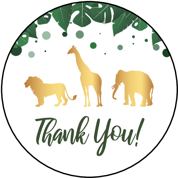 """2"""" Thank You Labels (Jungle) - Pre-Printed Party Labels - Circle - 20 Labels/Sheet"""