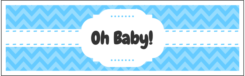 """8"""" x 2.5"""" Oh Baby Water Bottle Labels (Blue) - Pre-Printed Chevron Style Labels - SC - 4 Labels/Sheet"""