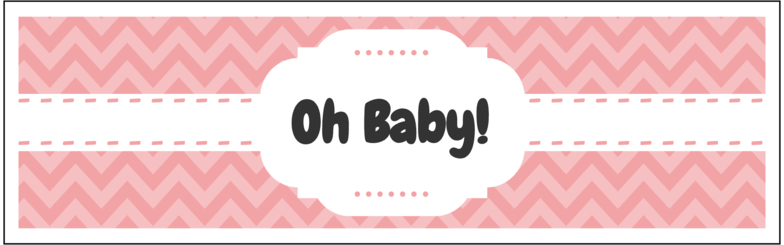 """8"""" x 2.5"""" Oh Baby Water Bottle Labels (Pink) - Pre-Printed Chevron Style Labels - SC - 4 Labels/Sheet"""