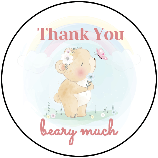 """1.75"""" Thank You Beary Much Labels - Pre-Printed Baby Shower Labels - Circle - 20 Labels/Sheet"""