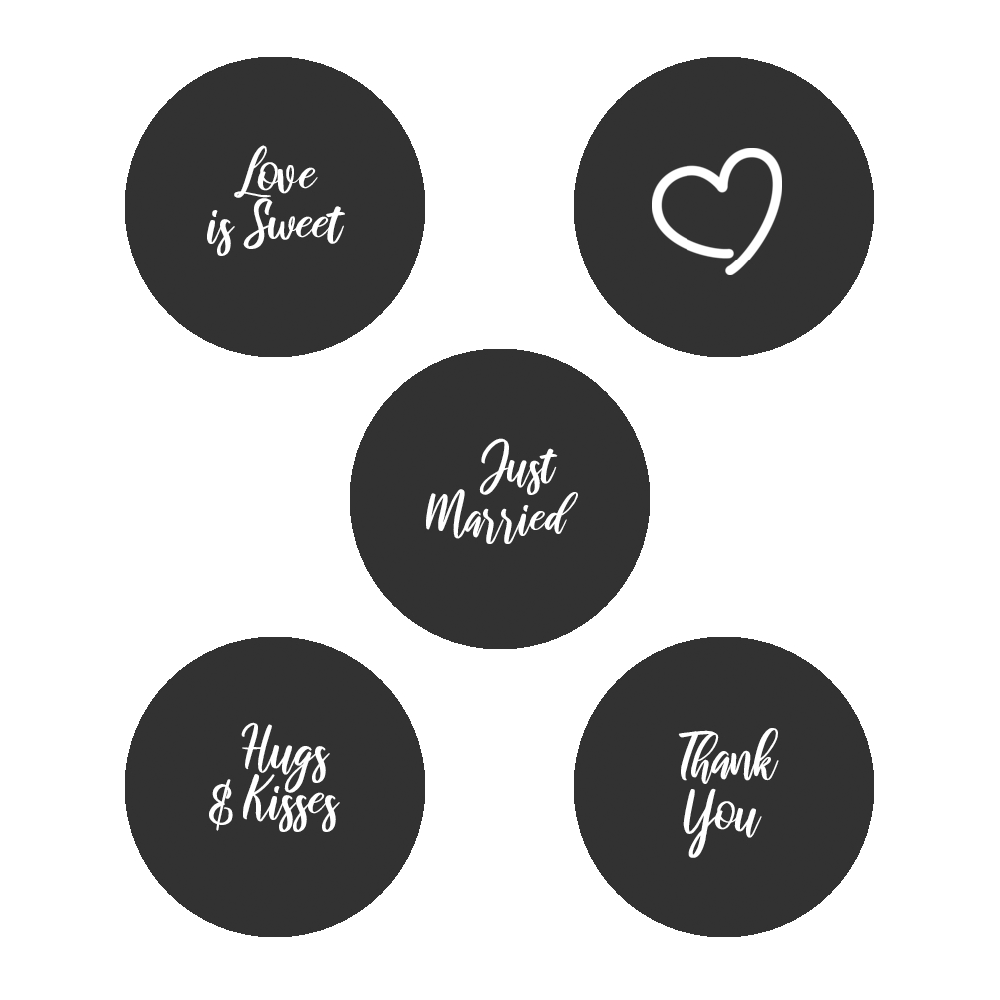 """0.75"""" Assorted Kiss Candy Labels (Black) - Pre-Printed Wedding Favor Candy Labels - Circle - 108 Labels/Sheet"""