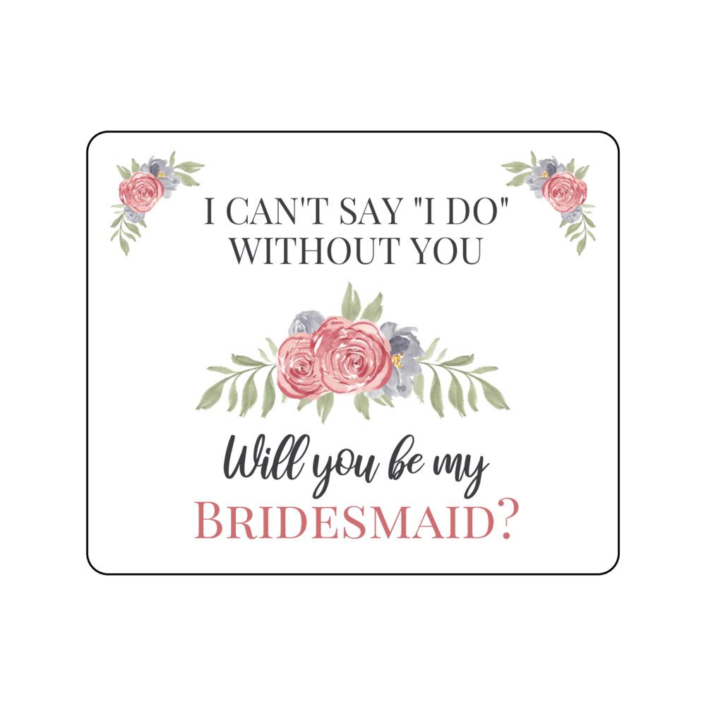 Light pink floral bridesmaid proposal wine bottle labels