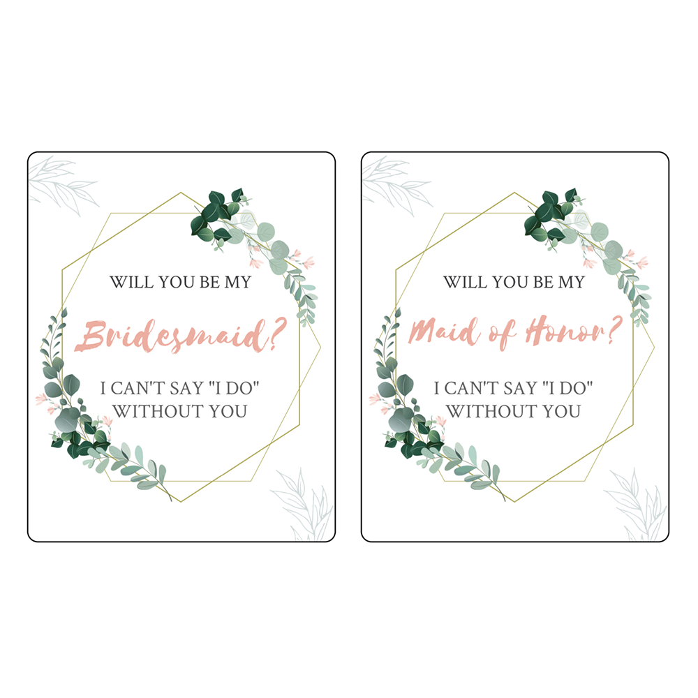 """3.75"""" x 4.75"""" Will You Be My Bridesmaid (Floral) - Pre-Printed Bridesmaid Wine Labels - RC - 4 Labels/Sheet"""