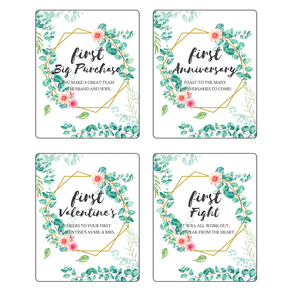 """3.75"""" x 4.75"""" First Anniversary (Floral) - Pre-Printed Anniversary Wine Labels - RC - 4 Labels/Sheet"""