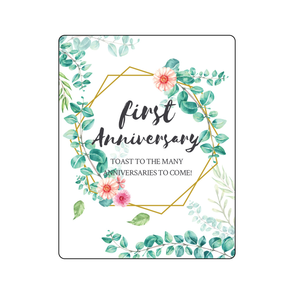 Greenery geometric marriage firsts wine bottle labels for first big purchase, anniversary,valentines, fight