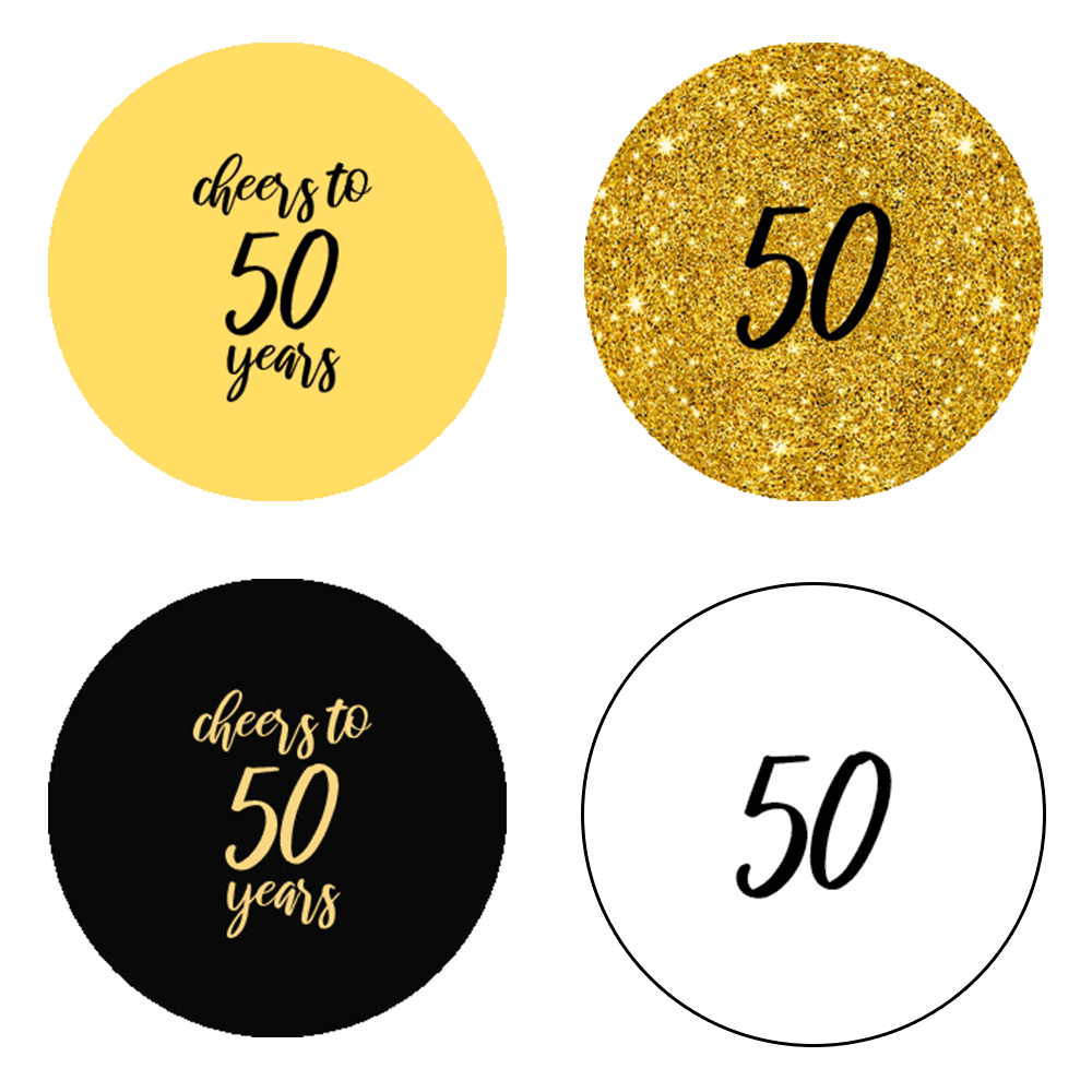 """0.75"""" Happy 50th Birthday Kiss Candy Labels (Black, Gold) - Pre-Printed - Circle - 108 Labels/Sheet"""