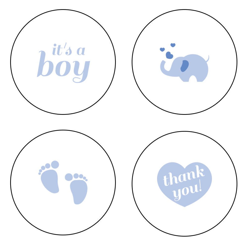 """0.75"""" It's a Boy Kiss Candy Labels (Blue) - Pre-Printed Gender Reveal Candy Labels - Circle - 108 Labels/Sheet"""