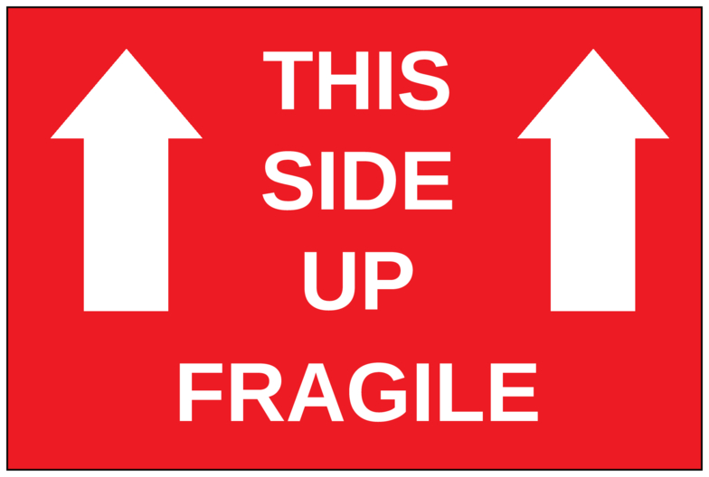 """6"""" x 4"""" This Side Up Fragile (Red) - Pre-Printed Moving Labels - SC - 2 Labels/Sheet"""