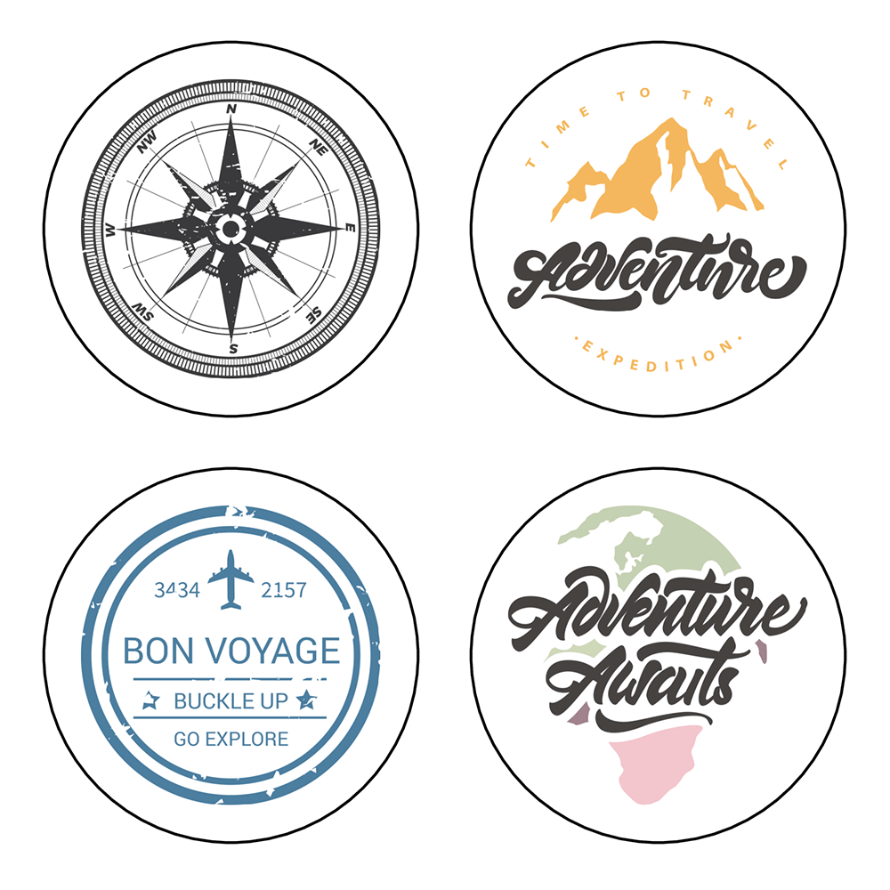 """2"""" Travel Themed Party Labels - Pre-Printed Travel Party Labels - Circle - 20 Labels/Sheet"""