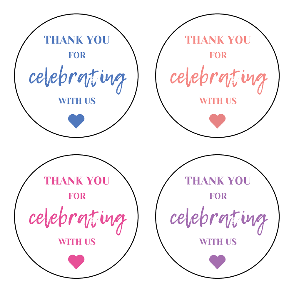 """2"""" Thank You For Celebrating With Us Labels - Pre-Printed Party Labels - Circle - 20 Labels/Sheet"""