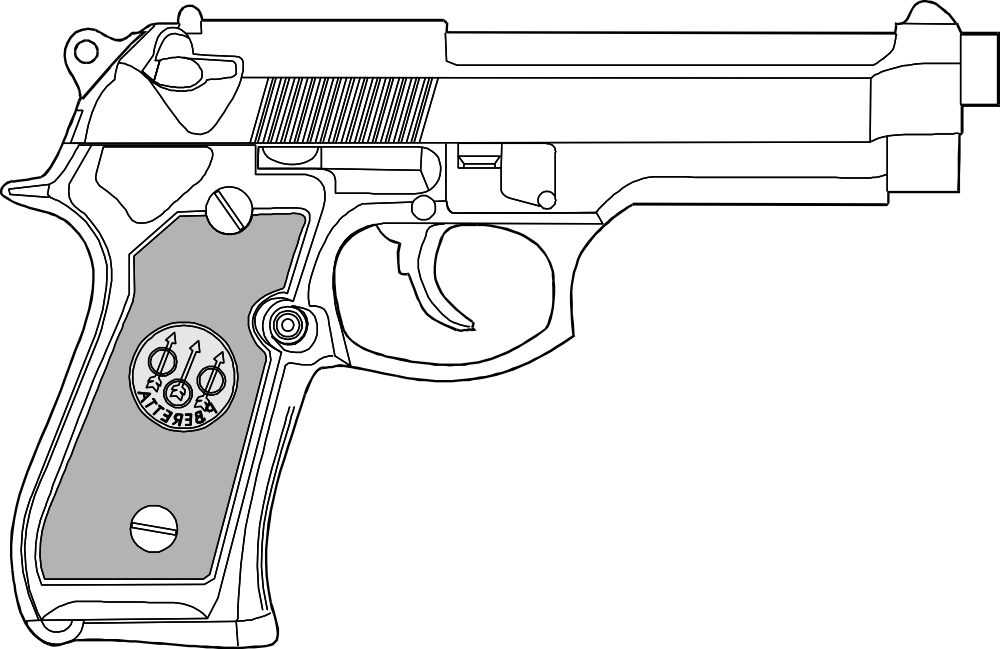 OnlineLabels Clip Art - 9Mm Pistol