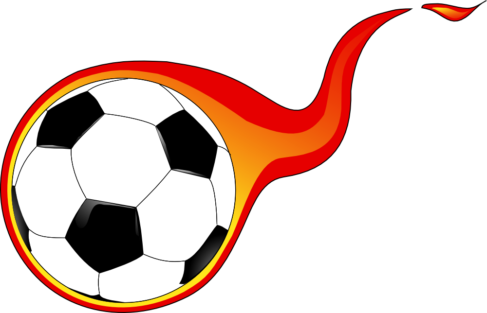 OnlineLabels Clip Art - Flaming Soccer Ball Rolling Soccer Ball Picture