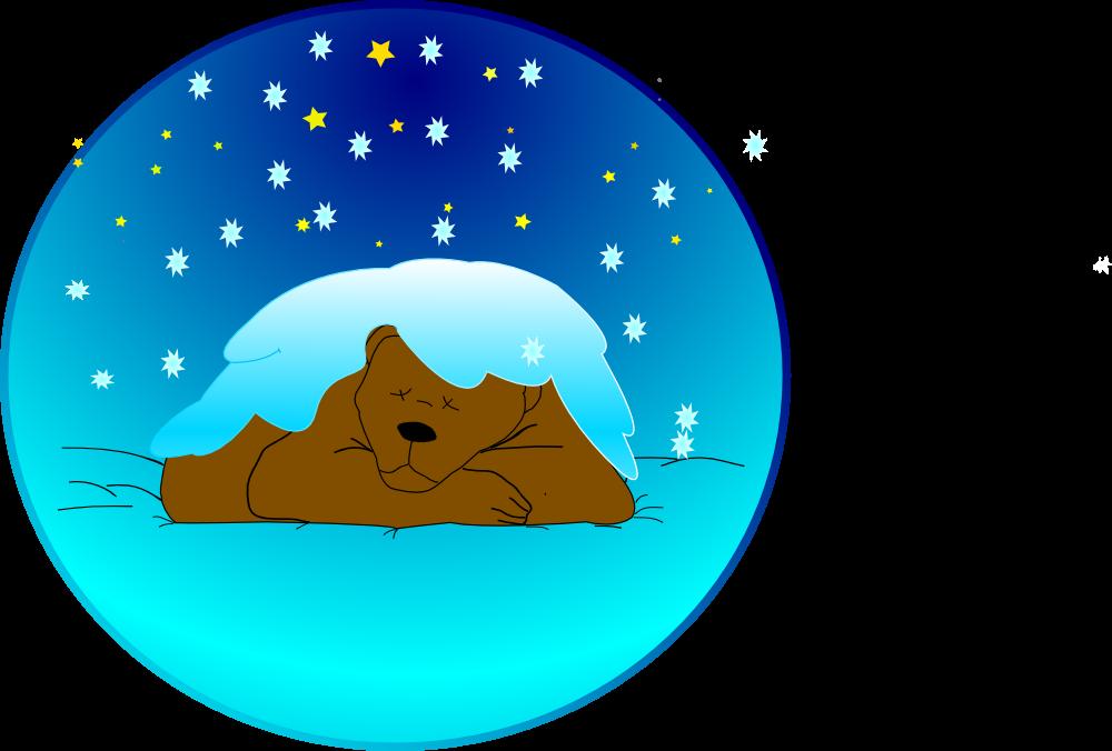 Sleeping bear under the snow