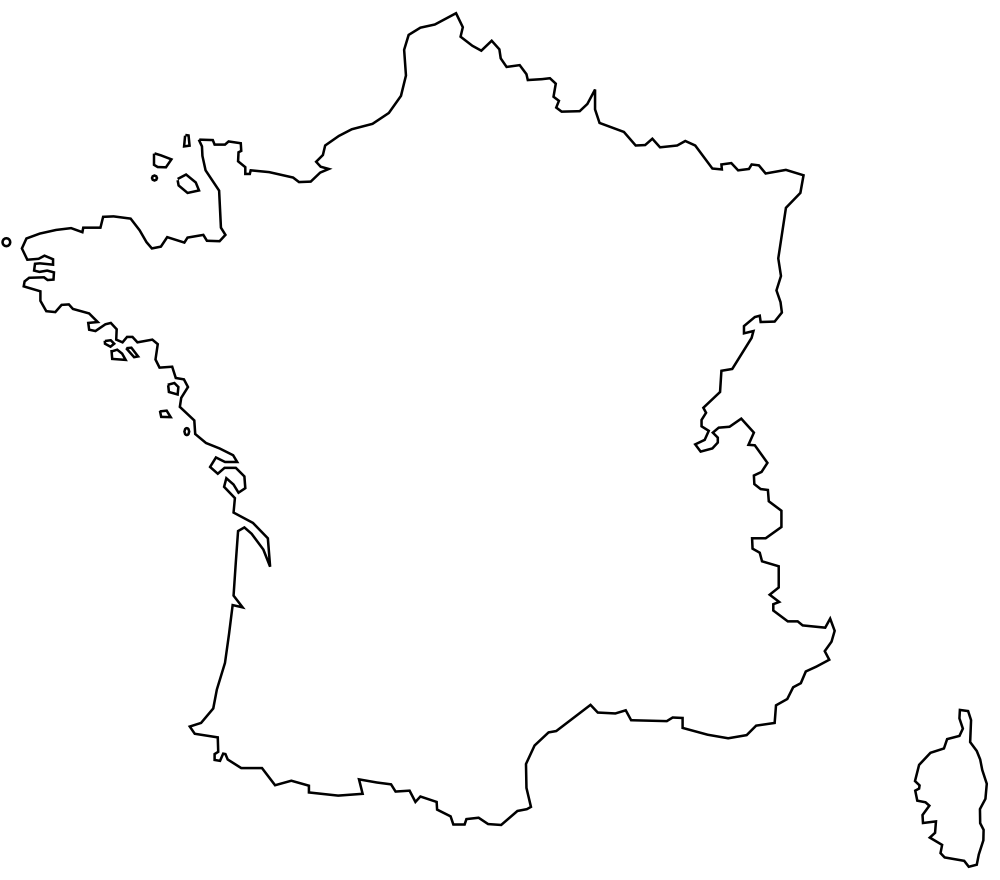 OnlineLabels Clip Art Carte De France - France map images blank