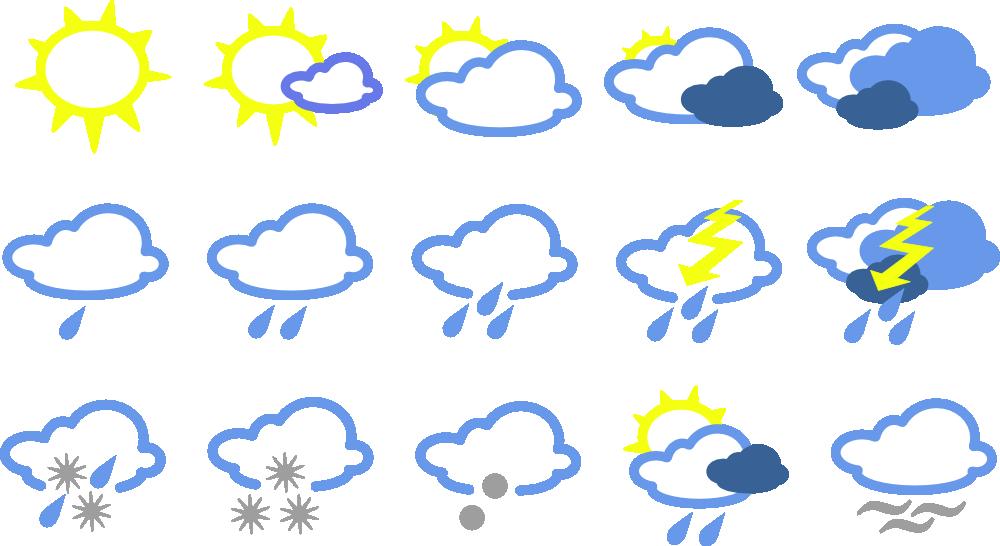Onlinelabels Clip Art Simple Weather Symbols