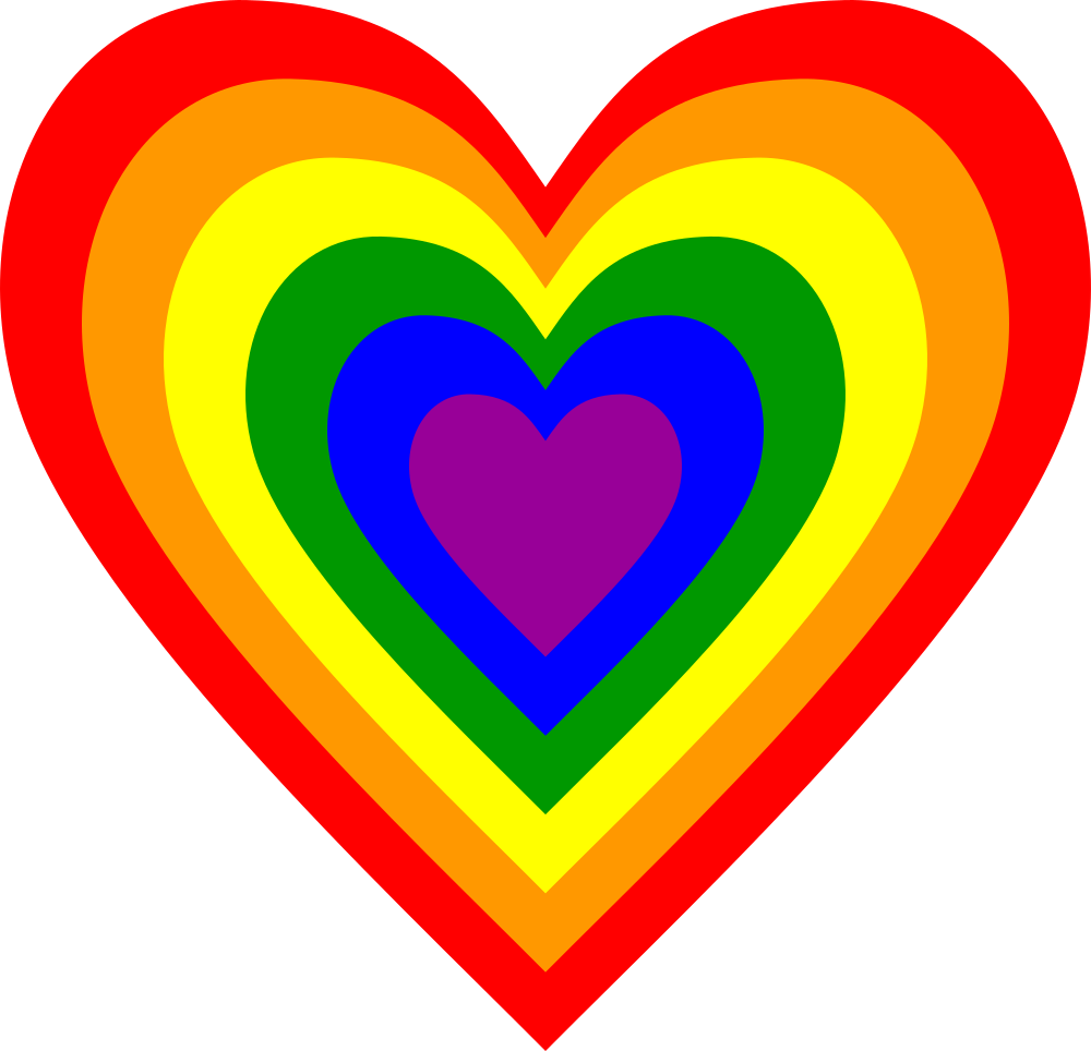 Hearts rainbow. Onlinelabels clip art heart
