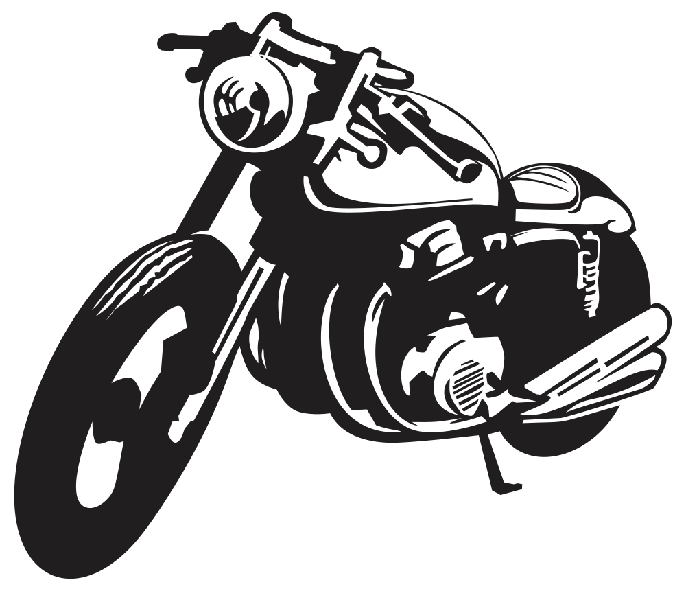 OnlineLabels Clip Art - Classic Motorcycle Silhouette