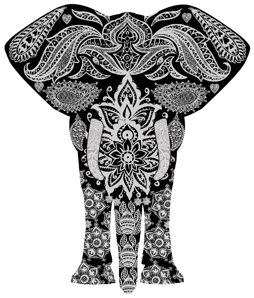 OnlineLabels Clip Art - Floral Pattern Elephant 2