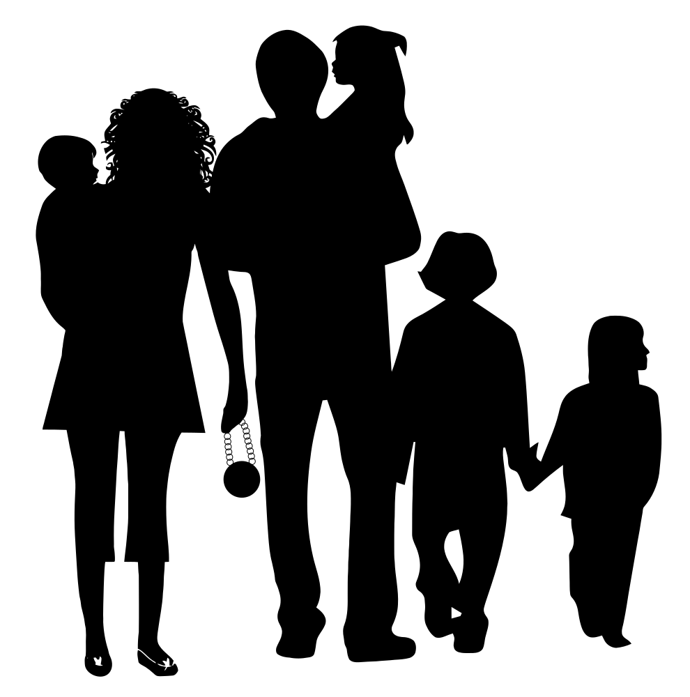 OnlineLabels Clip Art - Happy Family Silhouette