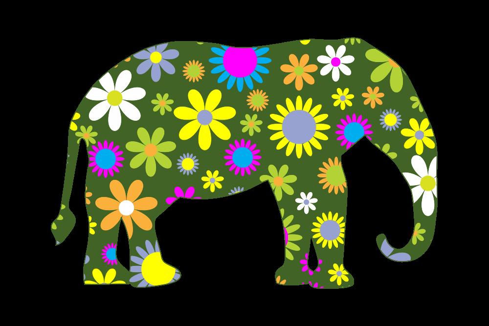 OnlineLabels Clip Art - Retro Floral Elephant