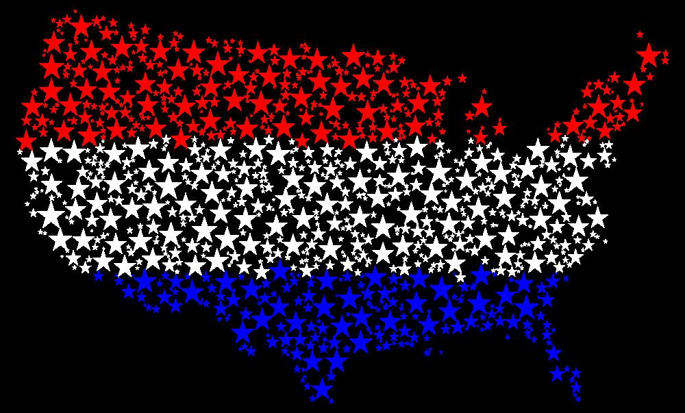 Onlinelabels Clip Art United States Map Flag Stars