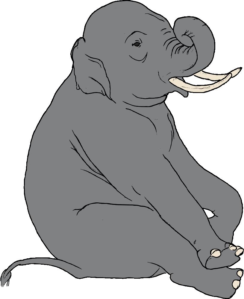 OnlineLabels Clip Art - Sitting Elephant