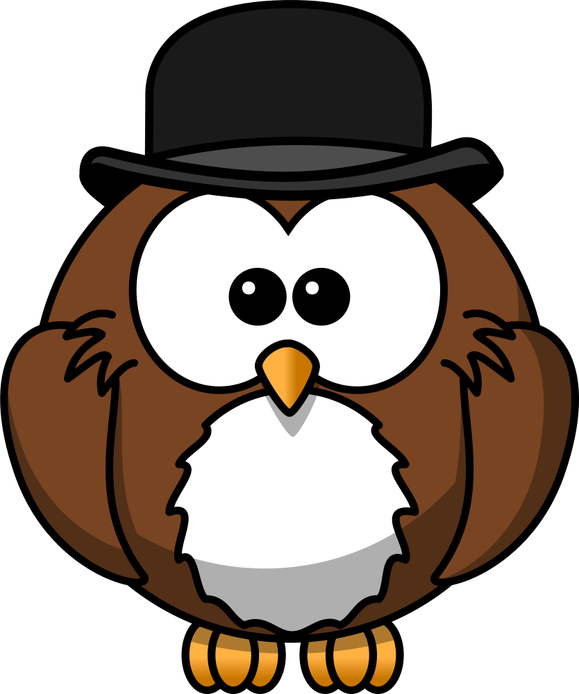 OnlineLabels Clip Art - Owl With Derby