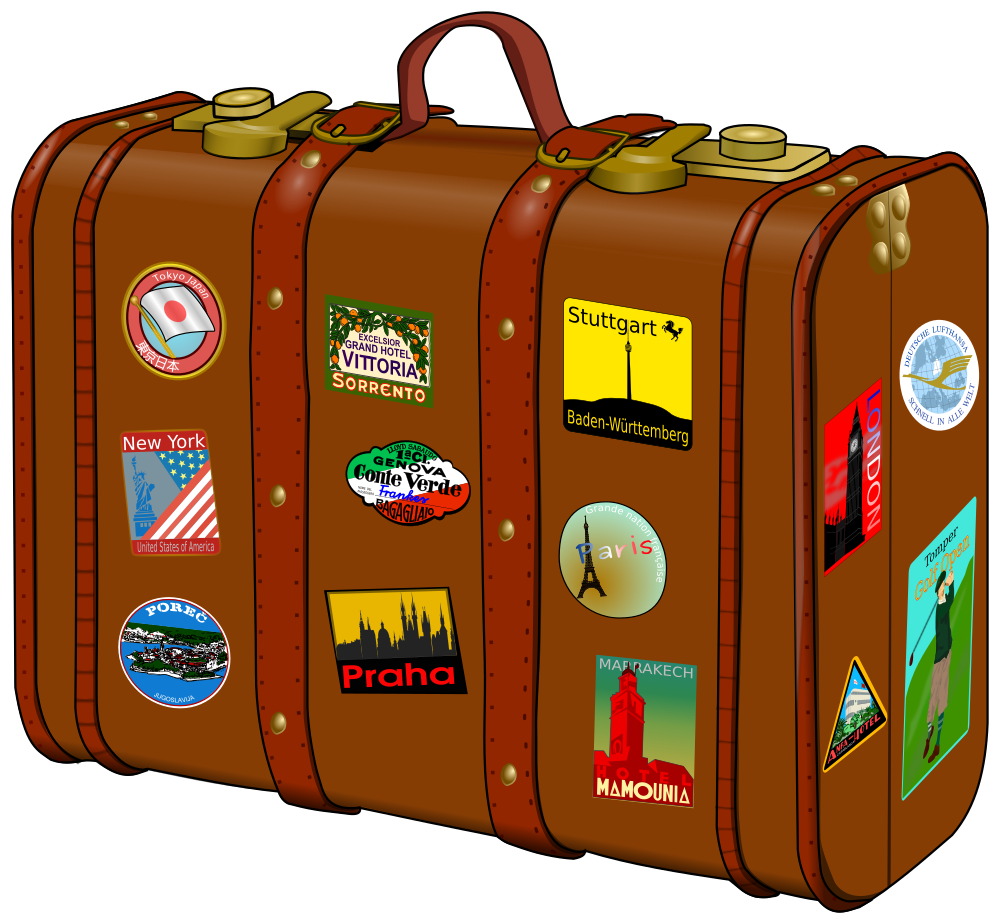 onlinelabels clip art suitcase with stickers