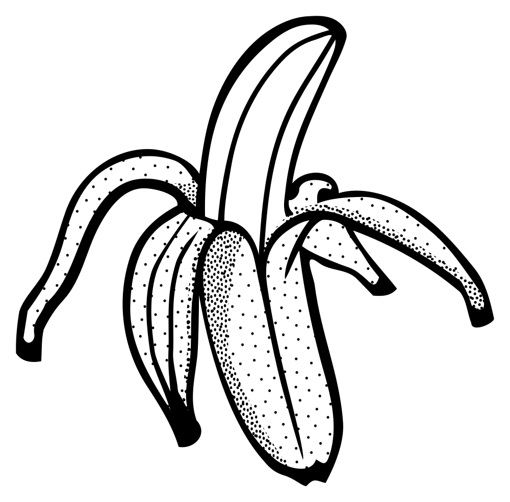 onlinelabels clip art banana lineart rh onlinelabels com banana tree clipart black and white banana split clipart black and white