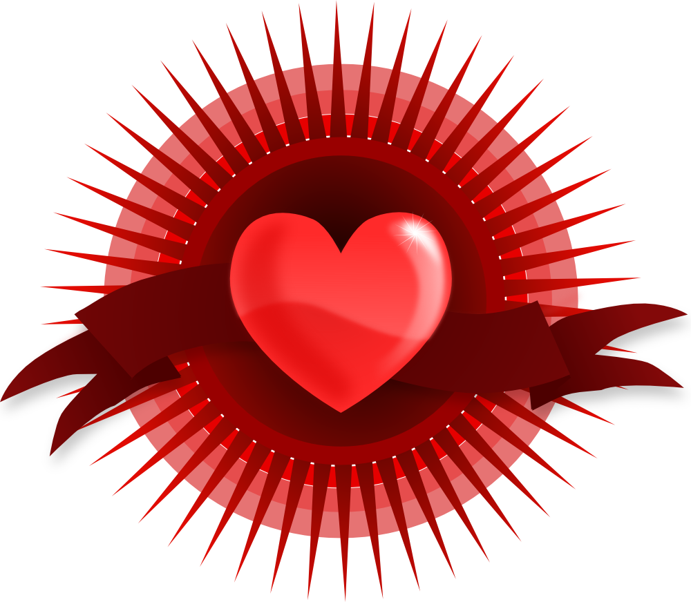 OnlineLabels Clip Art - Heart With Rays And Banner