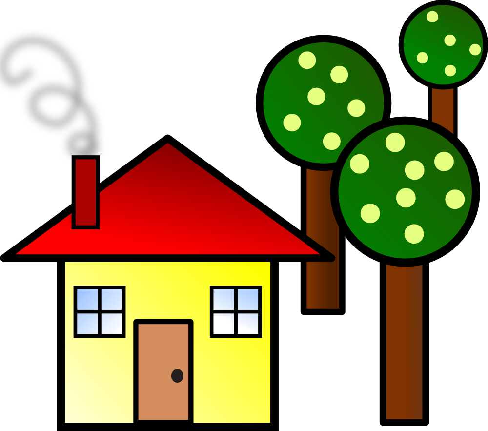 OnlineLabels Clip Art - House With Trees