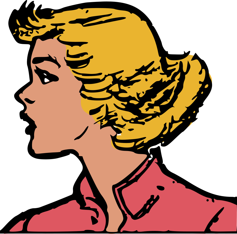 OnlineLabels Clip Art - Retro Woman Head