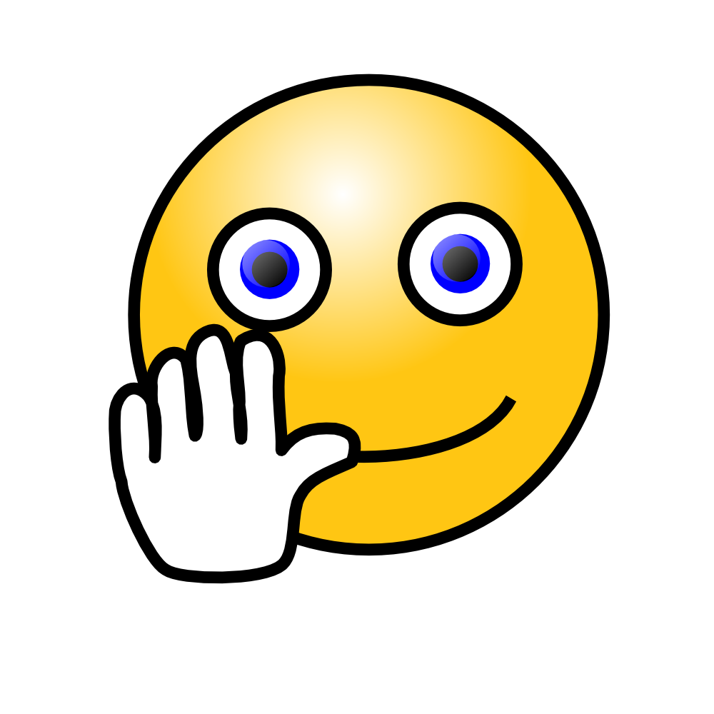 OnlineLabels Clip Art - Emoticons: Hand Waving Face